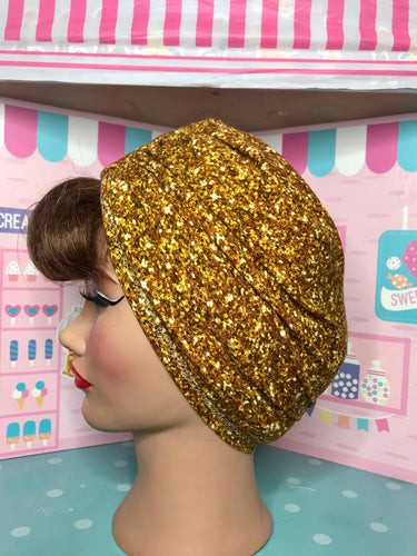 Gold faux glitter look head wrap