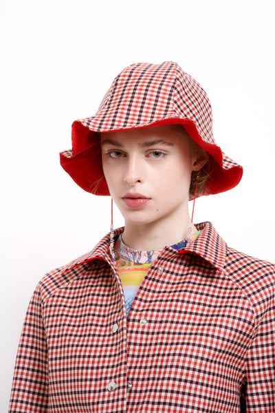Checked Blossom Hat