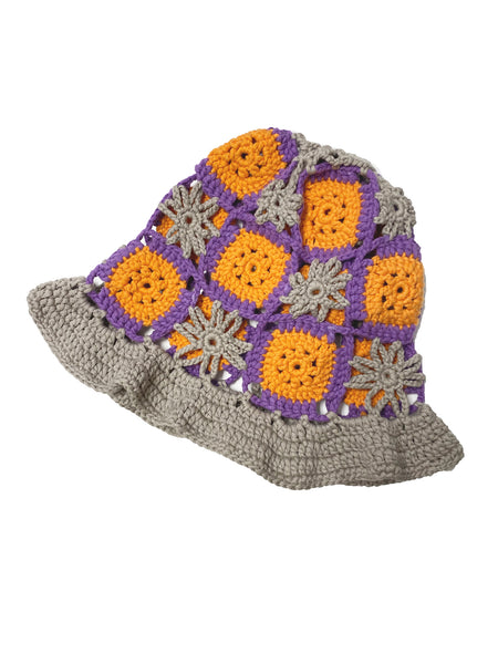 TRUONGII Crochet Hat Grey Orange
