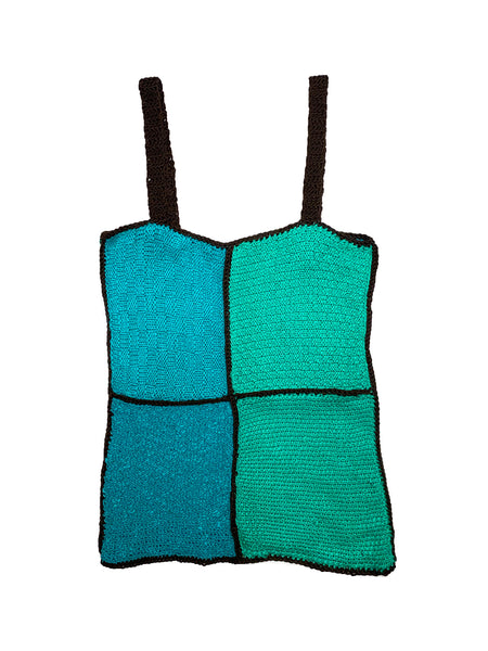 Knitted Patchwork Top Green