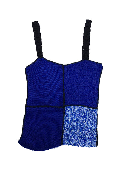 Knitted Patchwork Top Blue