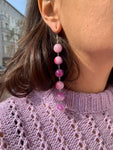 Violet Marble Pearl String Earrings