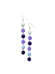 Violet Blue Triple Pearl String Earrings