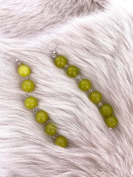 Olive Pearl String Earrings