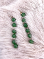 Bottle Green Pearl String Earrings