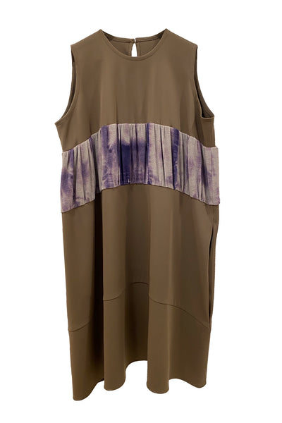 TRUONGII Brown Tie Dye Balloon Dress