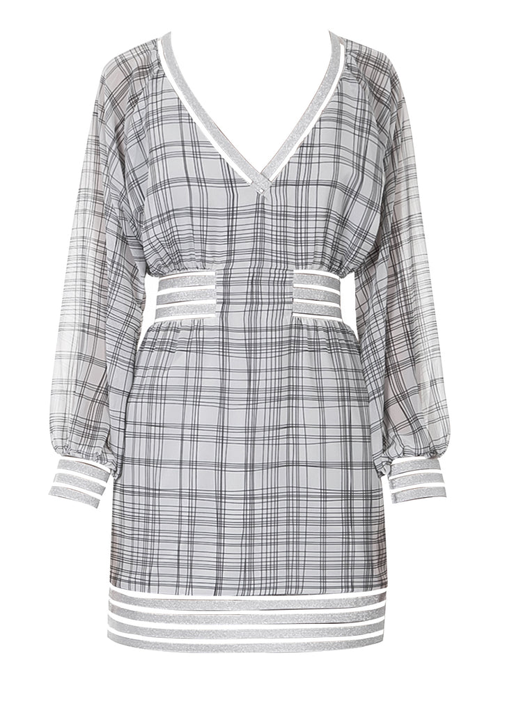 Grid V neck Dress