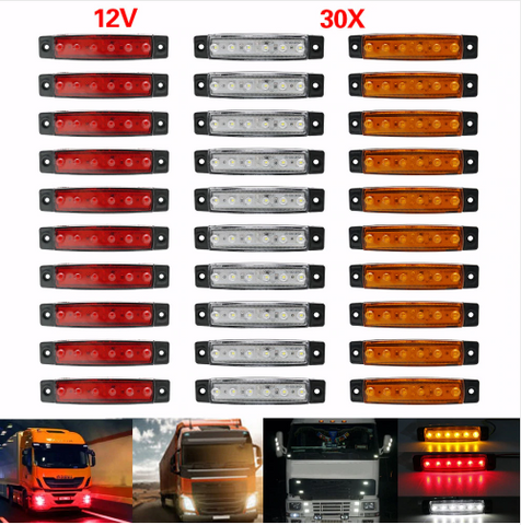 10pcs Amber Yellow 24v 6led Side Marker Indicators Lights Lamp Car Truck Trailer Atv,rv,boat & Other Vehicle