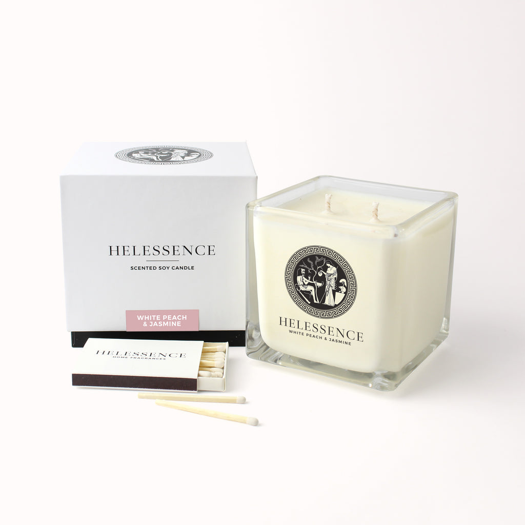 White Peach & Jasmine Scented Candle