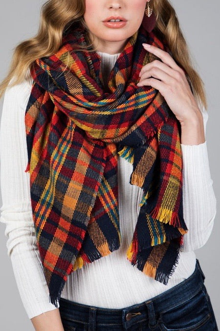 The Multi Plaid Pattern Scarf