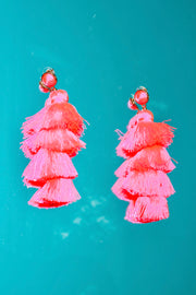 Neon Pink Dreams Tassel Earrings