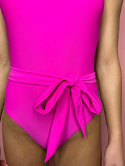 The Hot Pink Tie Swimsuit