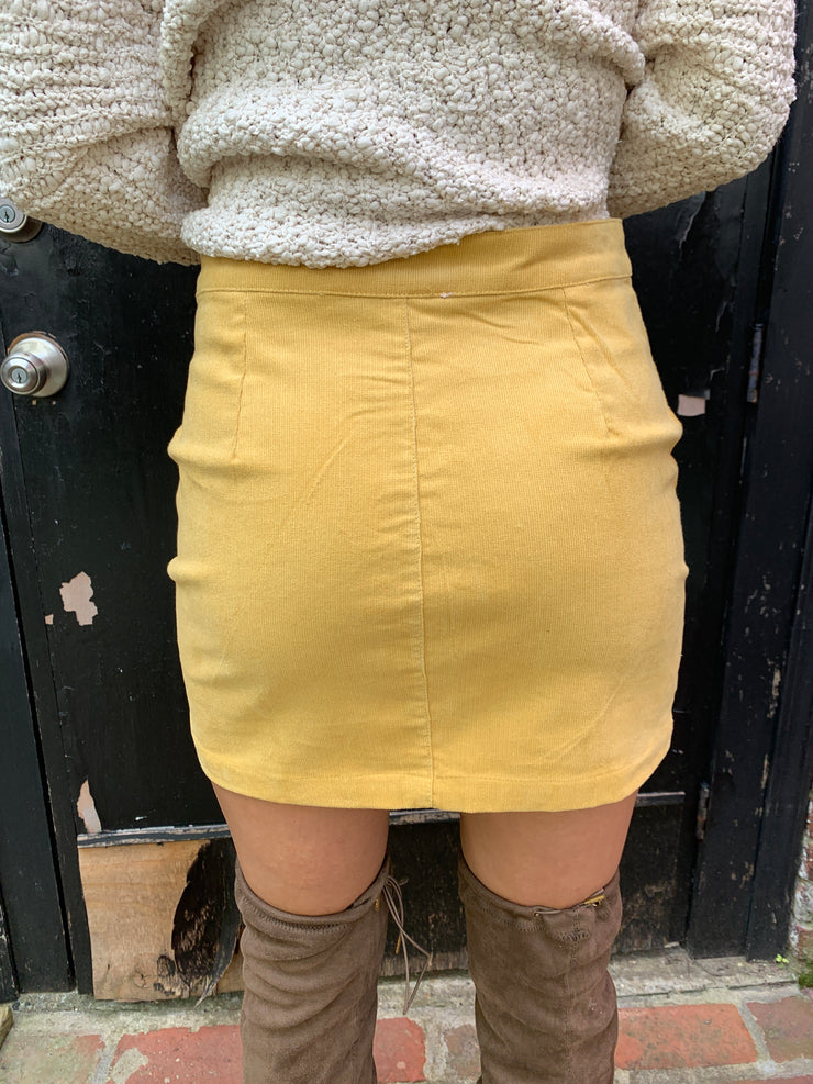 Mini Corduroy Zip Skirt
