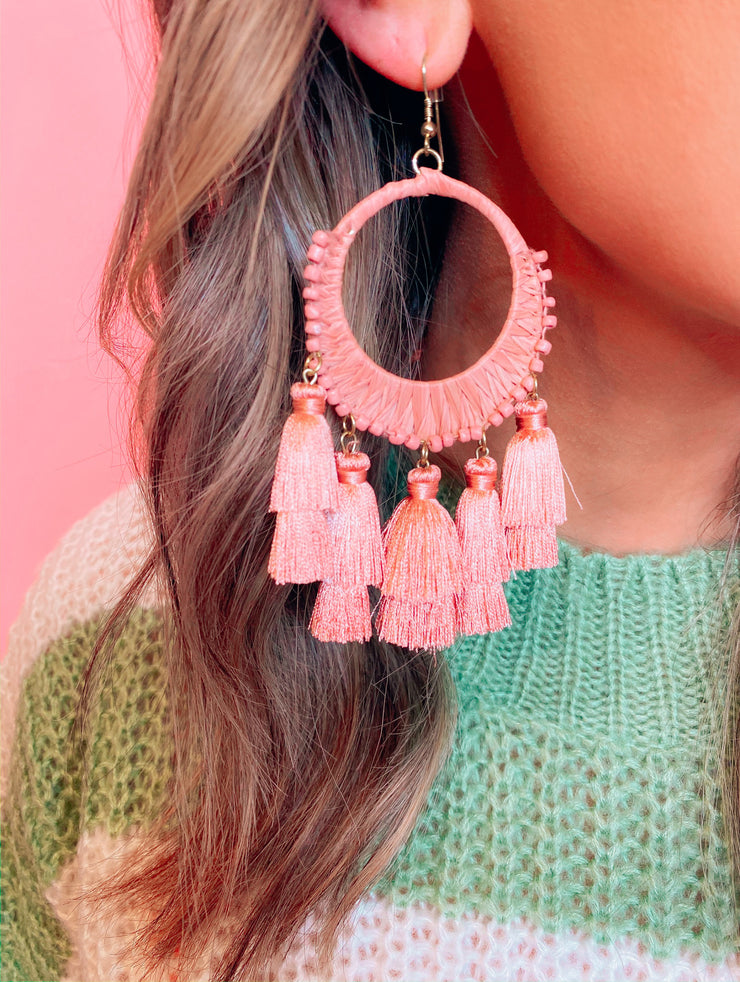 Blushin Babe Thread Earrings