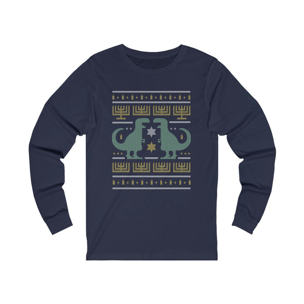 Hanukkah Ugly Sweater- Dino Long Sleeve - We Heart Dinos