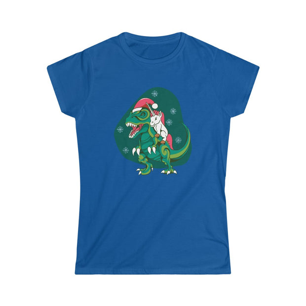 Unicorn Christmas Dinosaur women's t-shirt - We Heart Dinos