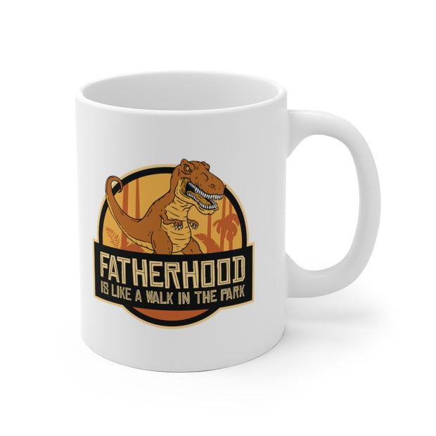 Fatherhood is like a walk through the Park- Dinosaur Mug - We Heart Dinos