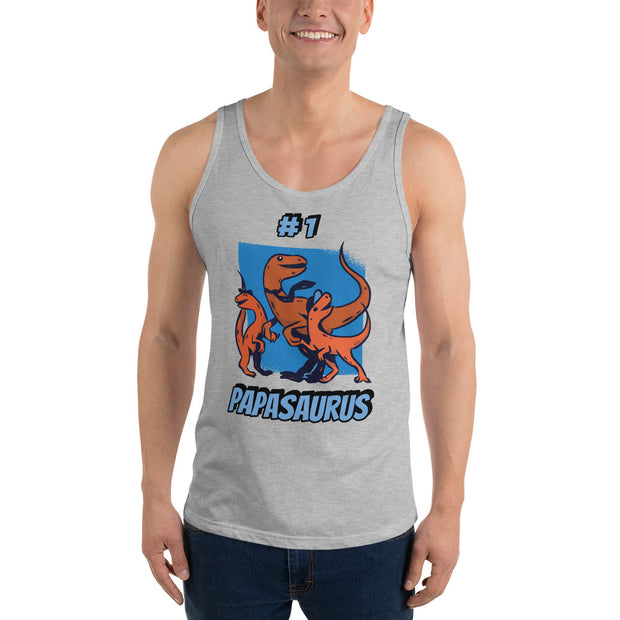 #1 Papasaurus- Editable Text-  Unisex Tank Top - WeHeartDinos