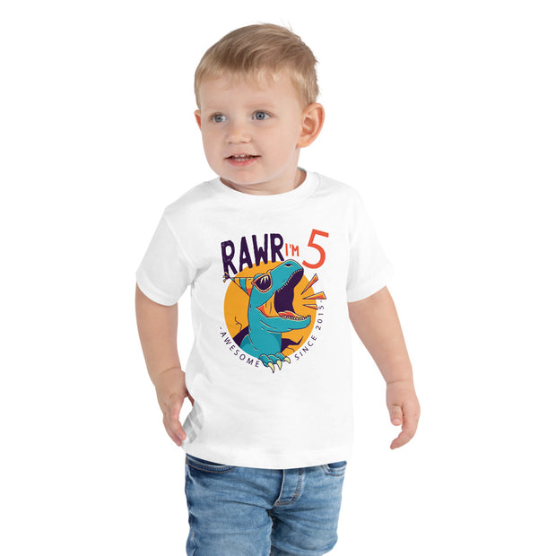 Rawr I'm 5...Awesome Since 2015- Toddler Size - WeHeartDinos