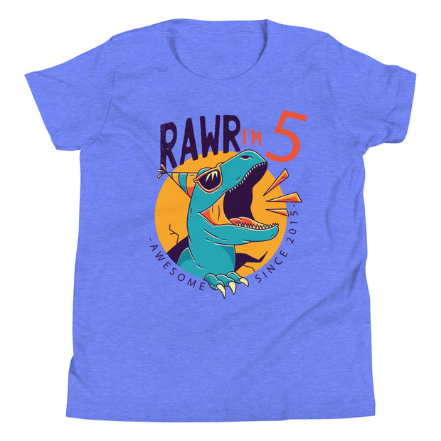 RAWR I'm 5... Awesome Since 2015- Personalizable- Youth size - We Heart Dinos
