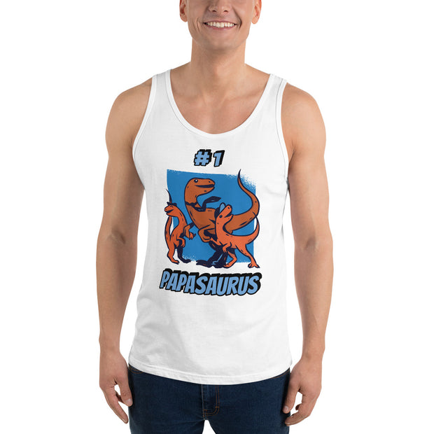 #1 Papasaurus- Editable Text-  Unisex Tank Top - We Heart Dinos