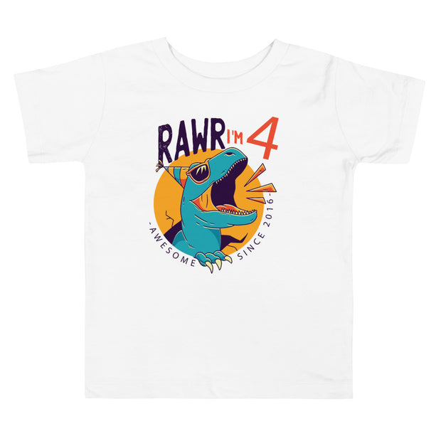 Rawr I'm 4...Awesome Since 2016- Personalized T-shirt - WeHeartDinos