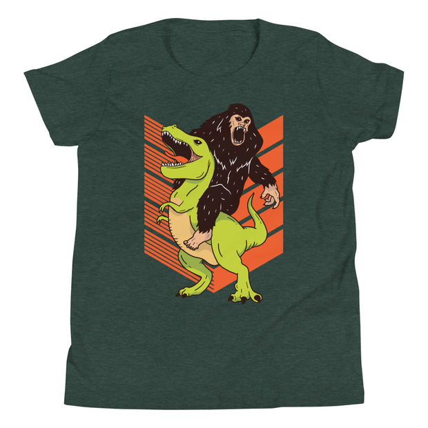 Gorilla Riding Dino- Youth Short Sleeve T-Shirt - WeHeartDinos