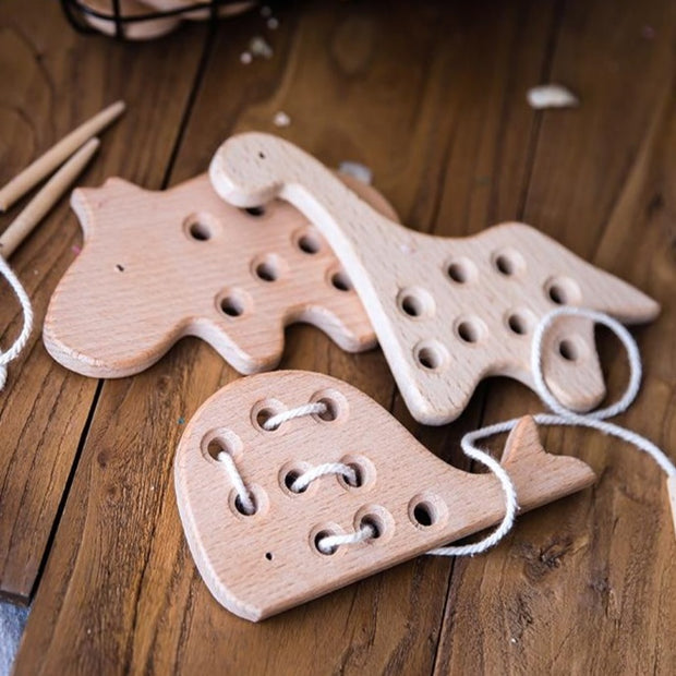 Wooden Threading / Lacing / Sewing Dinosaur Toy - WeHeartDinos