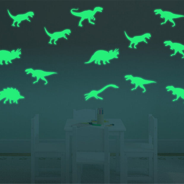 9Pcs Glow In The Dark Dinosaurs Wall Decal - We Heart Dinos