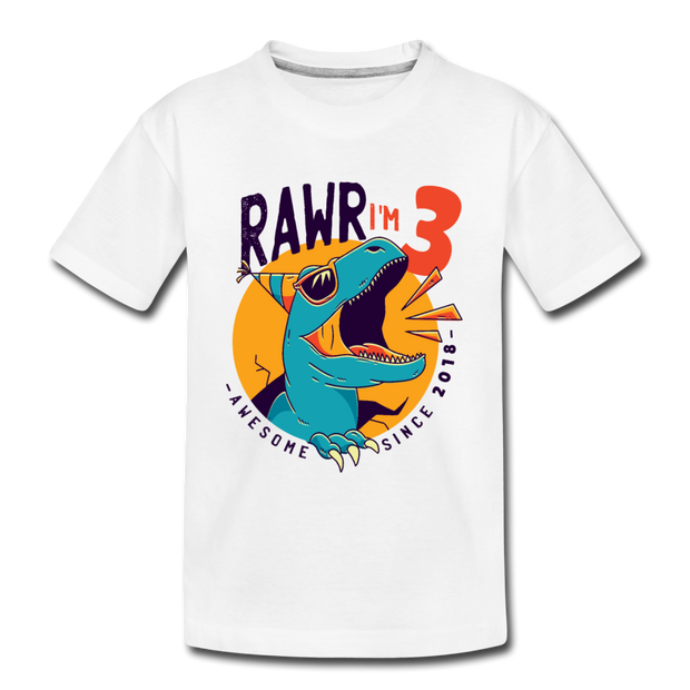 RAWR I'm 3...- Birthday T-Shirt - white