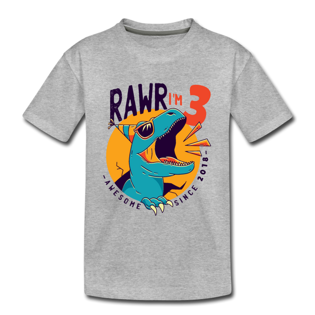 RAWR I'm 3...- Birthday T-Shirt - heather gray