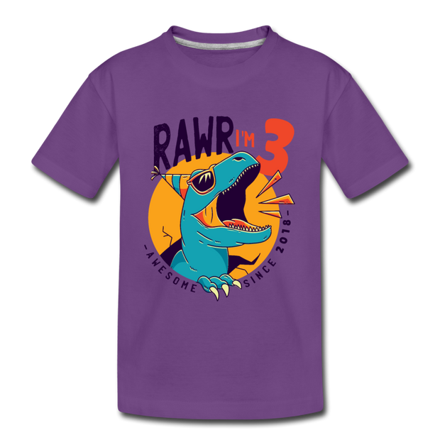 RAWR I'm 3...- Birthday T-Shirt - purple