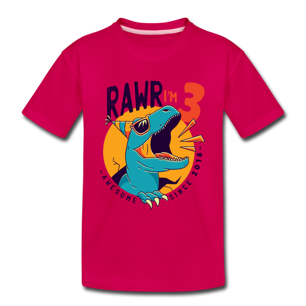 RAWR I'm 3...- Birthday T-Shirt - dark pink