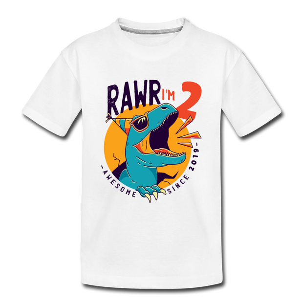 RAWR I'm 2...- Birthday T-Shirt - white