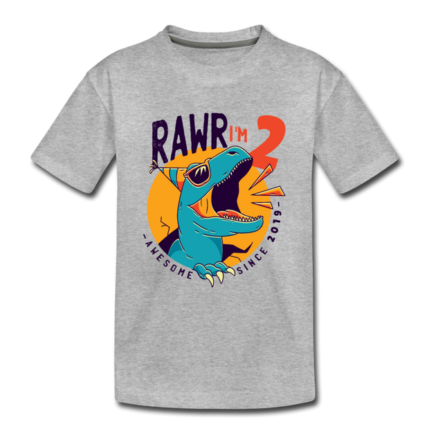 RAWR I'm 2...- Birthday T-Shirt - heather gray