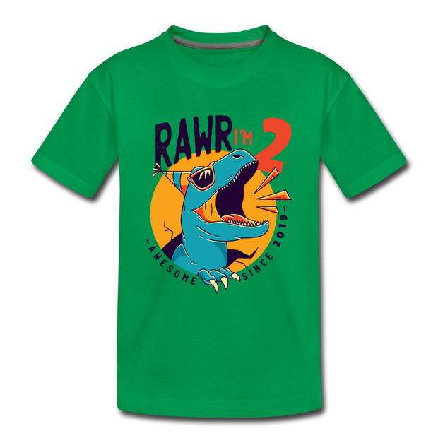 RAWR I'm 2...- Birthday T-Shirt - kelly green