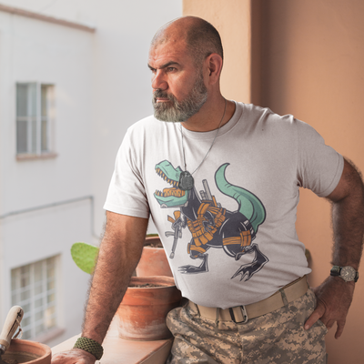 Military Dinosaur T shirt- Short Sleeve Tee - We Heart Dinos