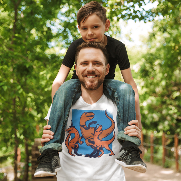 Daddy's Home Dinosaur T-shirt- Short-Sleeve - WeHeartDinos