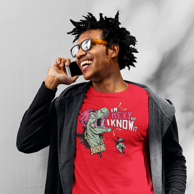 I'm Rexy and I know it- Men's dinosaur t-shirt - We Heart Dinos