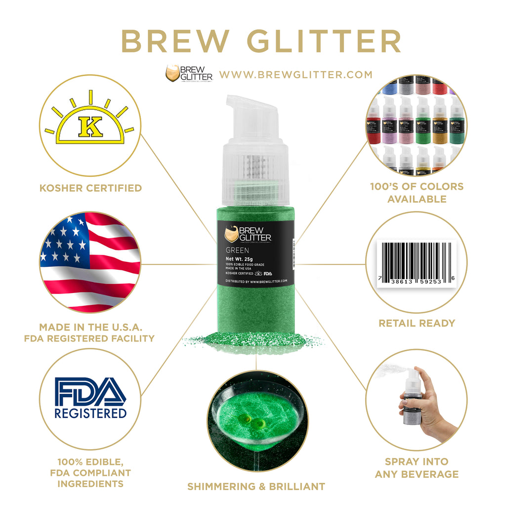 Green Edible Cocktail Glitter Spray Action Pump | Brewglitter.com