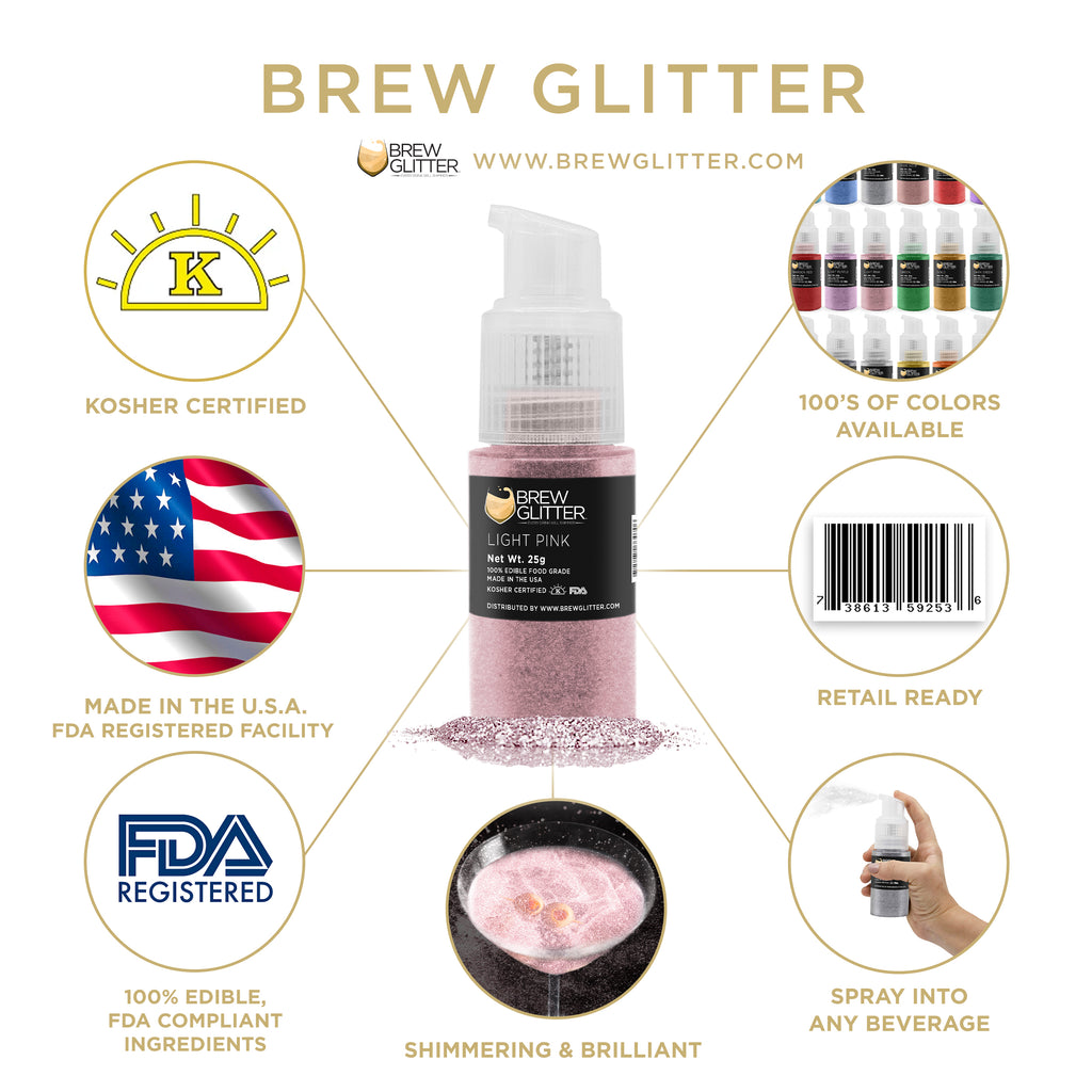 Light Pink Edible Cocktail Glitter Spray Action Pump | Brewglitter.com