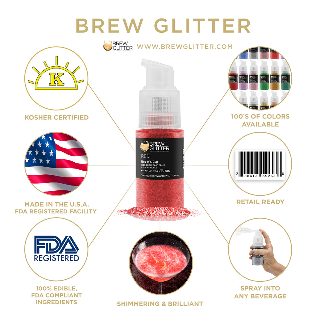 Red Edible Cocktail Glitter Spray Action Pump   Brewglitter.com