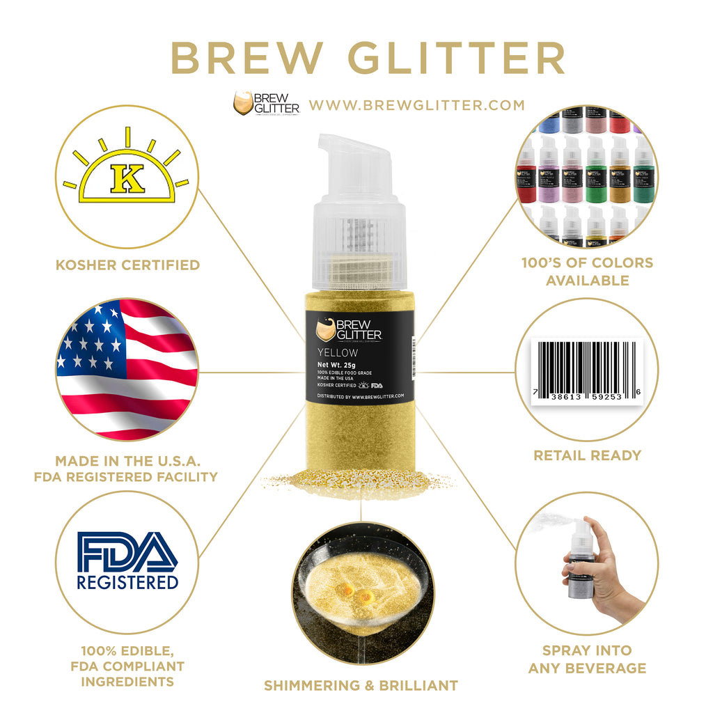 Yellow Edible Cocktail Glitter Spray Action Pump | Brewglitter.com