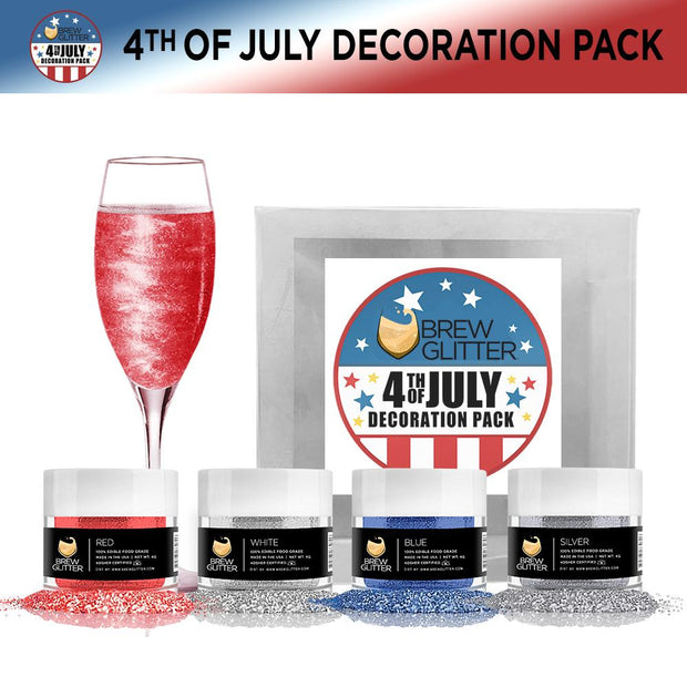 4th of July 4-Piece Edible Drink Glitter Kit