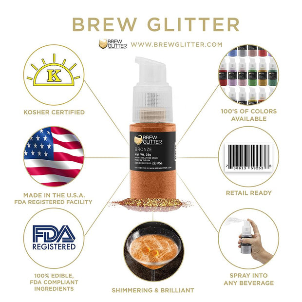 Bronze Edible Glitter Spray Pump for Drinks