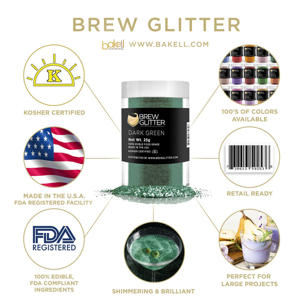 Dark Green Brew Glitter | Edible Glitter for Sports Drinks & Energy Drinks