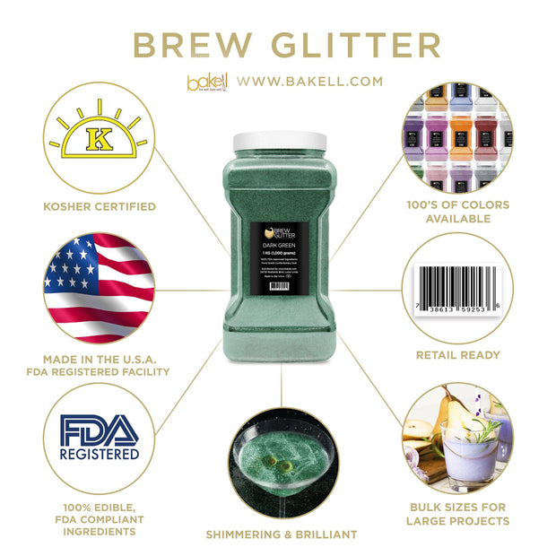 Dark Green Brew Glitter | Food Grade Beverage Glitter
