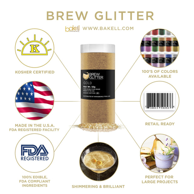 Gold Brew Glitter | Edible Glitter for Sports Drinks & Energy Drinks