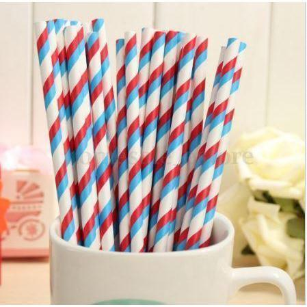 Light Blue & Red Candy Cane Stripes Stirring Straws