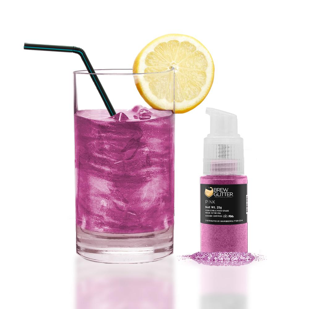 Pink Edible Glitter Spray Pump for Drinks